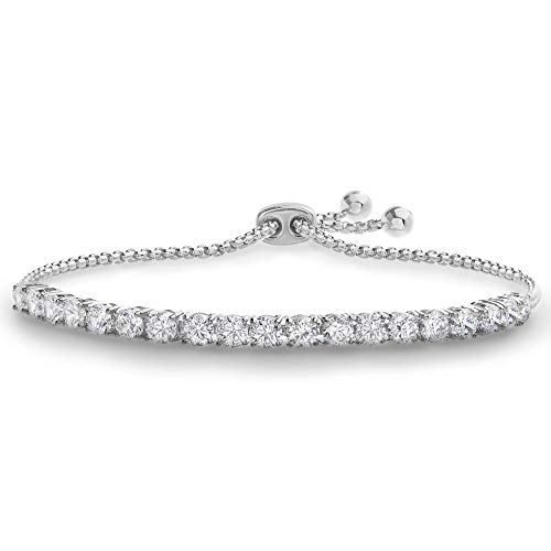 Devin Rose 8 Cttw Cubic Zirconia Adjustable Bolo Bracelet for Women in Rhodium Plated Brass ( 4mm White )