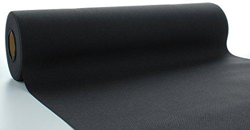 Sovie HORECA Linclass® Airlaid Tischläufer 40 cm x 24 m | Tischdecken-Rolle stoffähnlich | praktische Einmal-Tischdecke für Hochzeit oder Partys | Schwarz