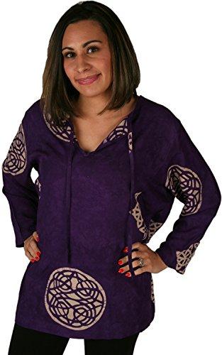 Rayon Batik Tunic -Purple Celtic Circles, Medium