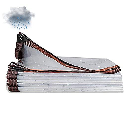QIAOH Lona Transparente para Invernadero 2x2m, Alquitranada Lona Transparente, Lona Impermeable con Ojales para Terraza, Pabellón, Terraza, Cortavientos, Exterior