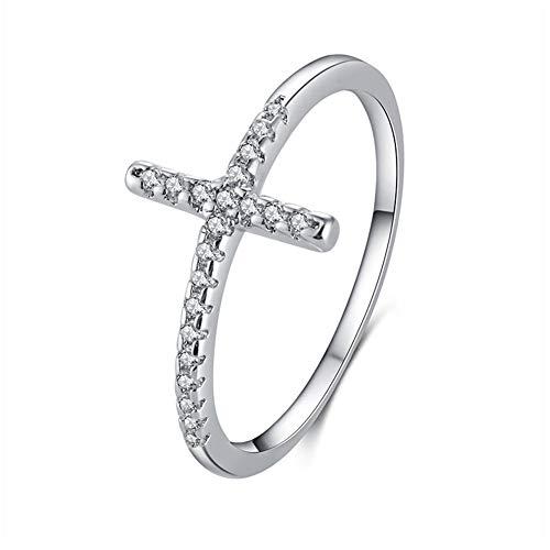 Einzigartige Kreuz Damen Geschenk Silberring Ring 925 Sterling Silber,925 Sterling Silber Schmuck Seitwärts Kreuz Weiß Ring Gravur,Silber,7
