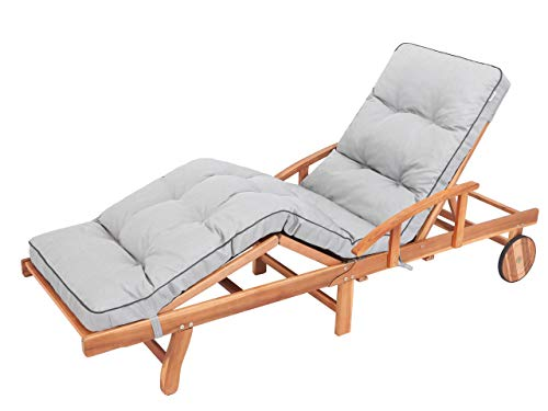 Liegenauflage, Auflage Gartenliege (Aschgrau) 201 x 55 cm, 8 cm dick, Auflagen für Deckchair, Bequeme Polsterauflage für Sonnenliege, Liegestuhl