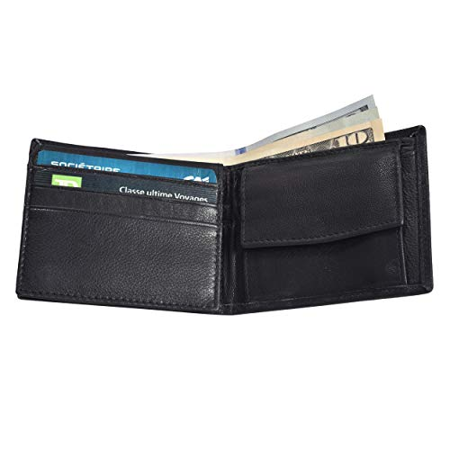 Leatherboss Leather Boys Slim Compact Flap Id Coin Pocket Bifold Wallet with debit credit card holder, Black