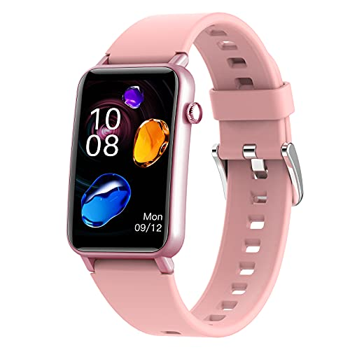 QFSLR Smartwatch, Impermeable Reloj Inteligente con Monitor De Frecuencia Cardíaca Monitoreo De Oxígeno En Sangre Seguimiento del Sueño Reloj Deportivo Podómetro Android iOS,Rosado