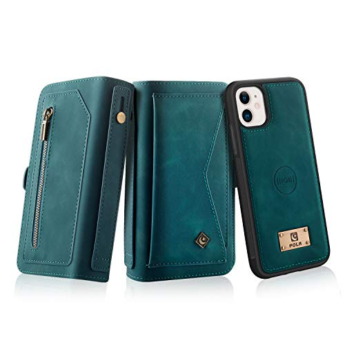 Petocase Compatible iPhone 11 Wallet Case, Multi-Function Zipper Purse with Detachable Magnetic Back Cover Wristlets 13 Card Slots & 4 Cash Pocket for Apple iPhone 11 Turquoise