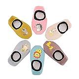 Estwell 6 Pares Calcetines Antideslizantes para Bebe Niña Niño Verano Algodón Infantil Recién Nacido Animal Lindo Calcetines