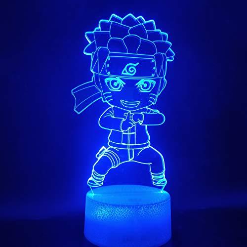 Sanzangtang Led-nachtlampje, 3D-vision-zeven-kleuren, groot licht, batterij-aangedreven jongens, anime kinderen, kantoor, nachtlampje, acryl, schattige decoratie, nachtlampje, kaarsen