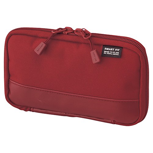 LIHIT LAB. Compact Pen Case (Pencil Case), Water & Stain Repellent, Red, 3.5' x 6.5'' (A7687-3)