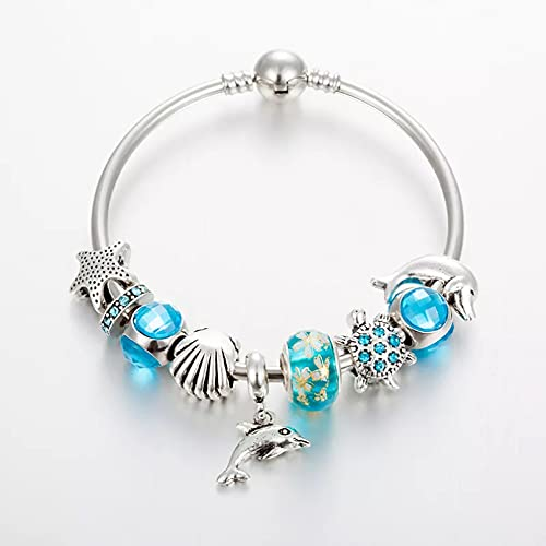 QiuYueShangMao Pulsera Diseño Ocean Style Tortoise Dolphin Star Beads Charm Bangles & Brazaletes para la fabricación de Joyas Pulsera de la Amistad