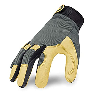 Intra-FIT Genuine Deerskin Working Gloves,Construction gloves,Soft, Improved Dexterity, Durable, Stretchable, Excellent for Labor protection, Mechanical, Construction, Automobile, Agriculture