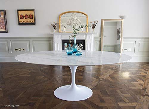 Little Tulip Shop Esstisch aus Carrara-Marmor, oval, 198 x 120 cm, Weiß
