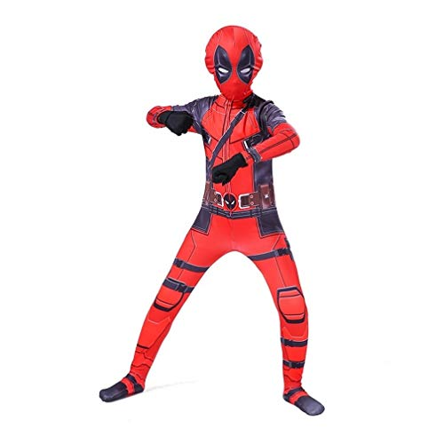 Deadpool Erwachsene Kinder-Kostüm-Klage Superheld-Abendkleid PS4 Kinder Leistung Cosplay Overall Onesies Set Anime Morph Attire (Color : Red, Size : M 120-140CM)
