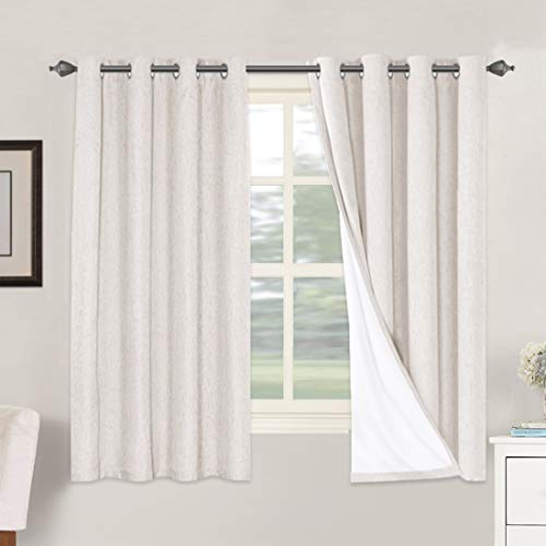 H.VERSAILTEX Linen Blackout Curtains 63 Inches Long 100% Absolutely Blackout Thermal Insulated Textured Linen Look Curtain Draperies Anti-Rust Grommet, Energy Saving with White Liner, 2 Panels, Ivory