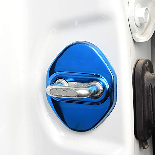 BeHave Autos Car Door Lock Cover Protective Fit for Toyota RAV4 2013-2020, 4 Pieces Car Door Latches Striker Trim Lip knob Case (Blue Mirror Stainless Steel Texture)
