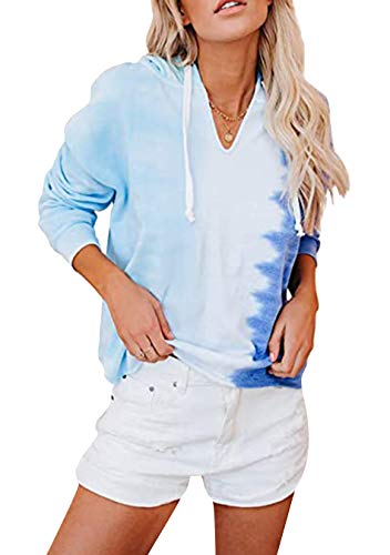 EFOFEI Damen Hemd Langarm Lässige Rundhalsausschnitt Sweatshirt mit Farbstoffdruck Plus Größe Loser Pullover Kontrastfarbe Blau M