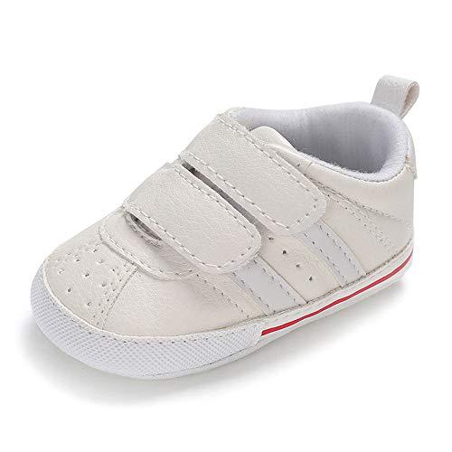 MK Matt Keely Zachte Zool Baby Sneakers Peuter Anti-Slip Eerste Walker Schoenen voor Baby Jongen Baby Meisje Trainers Prewalker 3-6 Months Witte strip