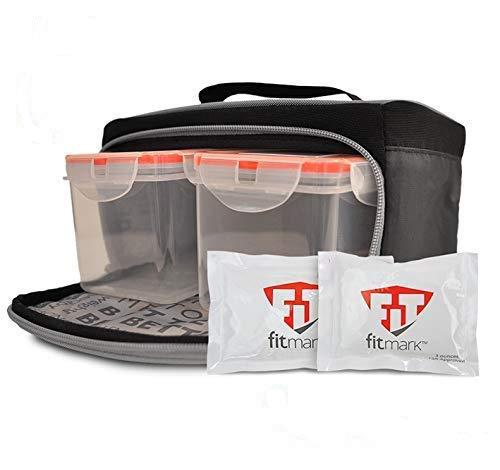 Fitmark Box Kleine schwarze isolierte Tasche für Mahlzeiten, BPA-freie Portionskontrolle, wiederverwendbare Kühlakkus