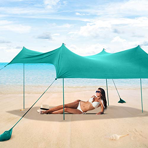 Tangkula 10 x 9 ft Family Beach Sunshade, UPF50+ Sun Shade Tent Canopy with Aluminum Poles, 4 Sandbag Anchor and 4 Peg Stake, Portable Beach Canopy Up to 7 People, Lightweight but Heavy Duty