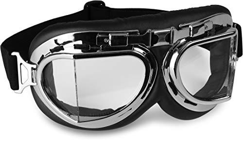 Storfisk Fishing & More - Occhiali protettivi da motociclista, anti-vento, imbottiti, lenti angolate, fascia regolabile ed elastica, argento