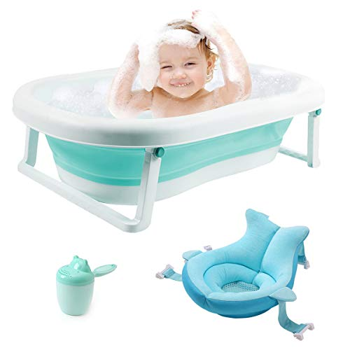 3-in-1 Baby Bathtub Portable Collapsible Toddler Bath tub Foldable Infant Shower Basin Anti Slip Skid Proof with Baby Cushion & Water Rinser Cup for 0-5 Years (Green tub+Cushion)