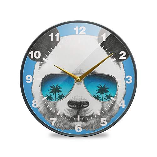 ISAOA Wanduhr, Nicht tickend, batteriebetrieben, Pandabär mit Spiegel, Sonnenbrille, arabische Ziffern, leise, Dekoration für Schlafzimmer, Wohnzimmer, Schule, Büro