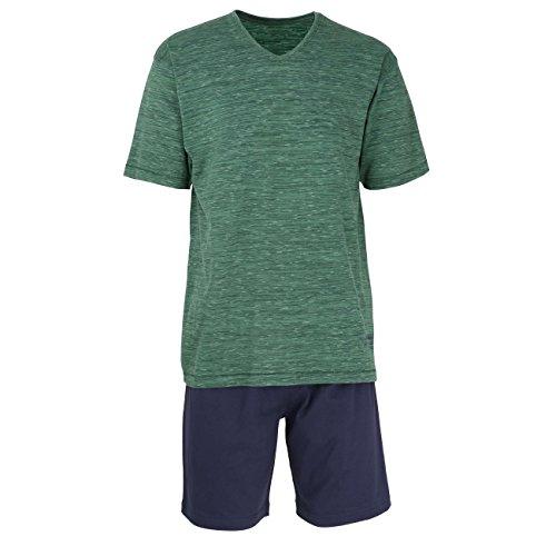 TOM TAILOR Herren Shorty, Kurzarm, Baumwolle, Polyester, Single Jersey, grün, Struktur 56