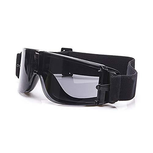 EnzoDate Balística X800 ejército Gafas de Seguridad 3 Kit de Lentes Gafas de Sol Militares visión Nocturna anit-UV Combate Guerra Juego Eyeshields con Estuche (Negro)