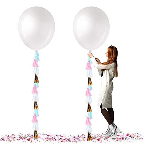 Globos Gigantes de Fiesta, Globos de Colores, Globos Grandes de látex de 36 Gulgadas,para Fiesta Cumpleaños Bodas Bautizo Graduación Navidad Carnaval Celebraciones (Blanco)