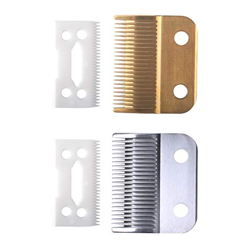 Clippers Blades Replacement Compatible with Wahl 30-15-10(#1037-400),Professional Animal Standard Adjustable Blade Set,Ceramic Dog Blade Set,2 Set(Gold/Silver)