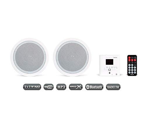 Fonestar KS-06 Amplificador de Pared y Pareja de Altavoces de Techo, Receptor Bluetooth