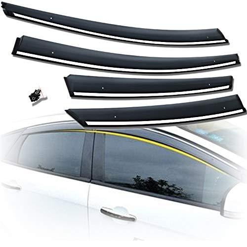 \t Deflectores Viento Coche para Ford Focus Sedan Hatchback, Visera De ProteccióN contra La Lluvia De Ventanas Laterales, con DecoracióN De Acero Inoxidable, Material AcríLico