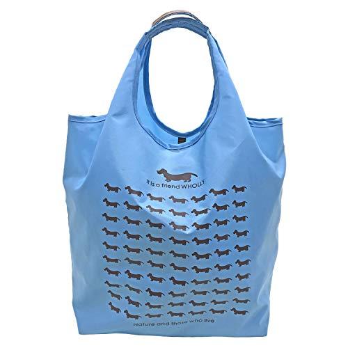 優美社 エコバッグ 犬柄 ブルー 約縦37×横32×マチ21cm WHOLLY 折りたたみ コンパクト 買い物袋 3L02-01