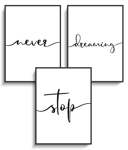 Kunstdruck DIN A4 Poster 3er Set Motivation 4 Never | Stop | Dreaming ohne Rahmen Design Schwarz Weiß