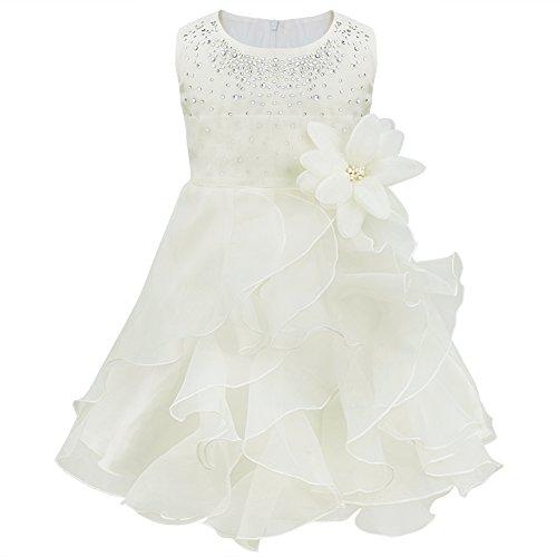 TiaoBug Baby Mädchen Kleid Prinzessin Hochzeit Taufkleid Blumenmädchen Festlich Kleid Kleinkind Festzug Kleidung (98 (Herstellergröße: 90), Ivory)