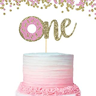 Donut Cake Topper for Baby Kids - First Birthday Cake Decoration,Pink and Gold One Birthday Decorations for Photo Booth Props,Best Party Supplies for 1st Birthday