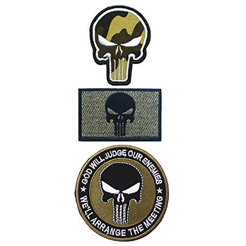 Ohrong 3 parches bordados de calaveras militares de la moral...