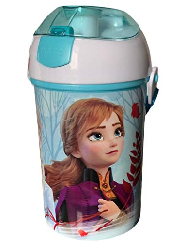 Botella Infantil Frozen Boquilla Autospout con Pajita, Botella Libre de BPA, Sistema Antiderrame, Óptimo para Guardería, Escuela y Deportes, Unisex-Niños, 450 ml