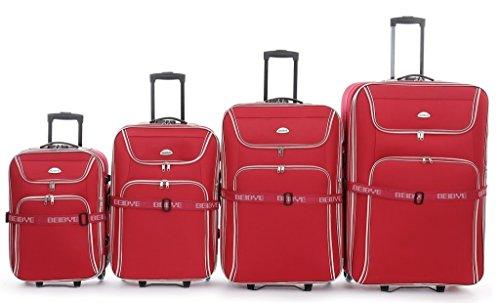 Trolley-valigetta-set - XXL-capacità - 86/76/66/56 cm, estendibile - rosso