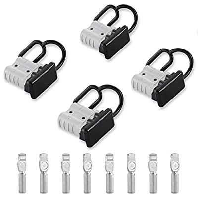 Micrl 4 Pcs 6-8 Gauge 50A Battery Quick Connect Disconnect, Wire Harness Plug Connector for Recovery Winch, Auto Car, Trailer Devices (Grey)