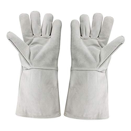 Guantes de soldadura de cuero de vaca, 150 ℃ Guantes de trabajo de seguridad resistentes al calor Guantes de horno de jardinería de alta resistencia para protección de manos con los dedos