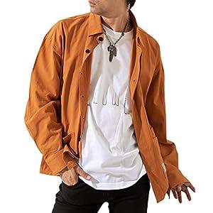 [メリュエル] 7カラー M~2XL 春秋 ビックシルエット シャツ 長袖 カジュアル シャツジャケット 上着 アウター 大人 ゴルフ 厚手 あつで ちょいワル mens ダンディ 男性 用 男子 おとこ めんず 男 ボーイズ 服 クール お洒落 オシャレ カッコイイ かっこいい おしゃれ シンプル ながそで お兄系 紳士 ゆったり 伸縮 フード付き ヘビロテ メンズ M ロゴ ブラウン