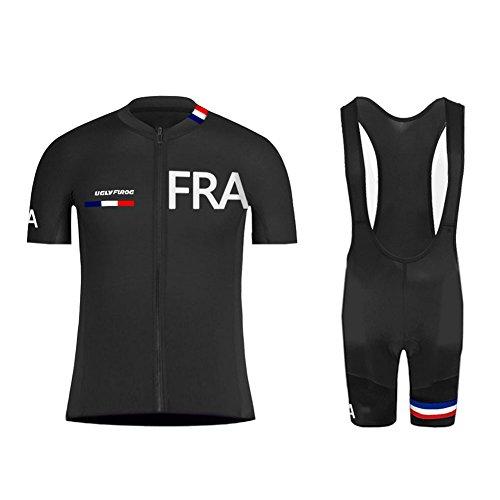 UGLY FROG Homme 2018 Été Combinaison Cycliste Maillot de Cyclisme Manches Courtes et Cuissard à Bretelle avec Respirant 3D Gel Rembourré Séchage A04