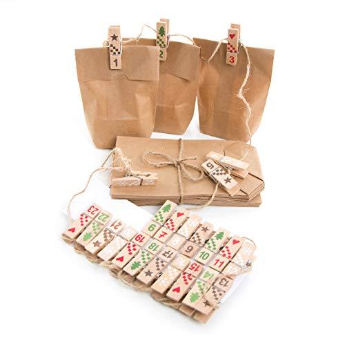 Kit de bricolage pour calendrier de l'avent en bois rouge vert naturel avec pinces à chiffres maison 4 cm 1 à 24 + 25 petits sacs en papier kraft marron 9 x 15 x 3,5 cm