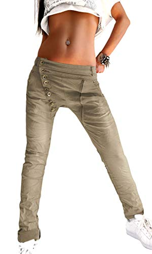 Mozzaar Dames Tube Jeans Broeken Baggy Chino Push-up Super-stretch Lange knop Voorkant en rits (Beige XS S M L XL)