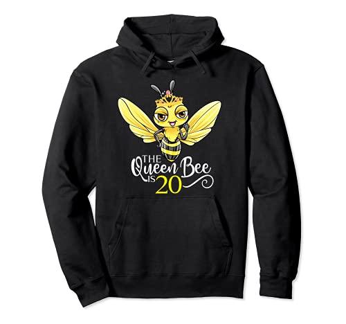 The Queen Bee Is 20 Honeybee Hive 20th Birthday Women Pullover Hoodie