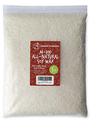 American Soy Organics - M-100 All-Natural Melt & Tart Wax – Natural Soy Wax for Candle Making – All Natural Soy Wax Beads - 5 Pounds