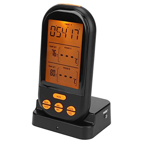 Ponacat Vleesthermometer Grillthermometer Met Roestvrijstalen Dubbele Sondes Voor Het Koken Van Voedsel Buiten Barbecue