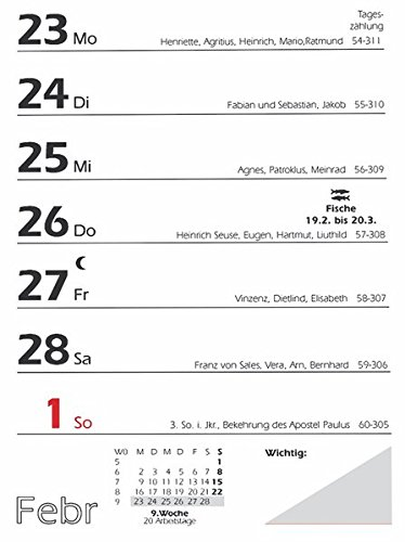 Zettler 325-0000 Wochenblock 25 10.5 x 15 cm (Abreißkalender)