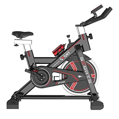 UIZSDIUZ Bicicleta estática magnética, Plataforma de transmisión del cinturón de Bicicletas, Bicicletas Ciclismo Indoor w/LCD Monitor de Gimnasio en casa Cardio Workout