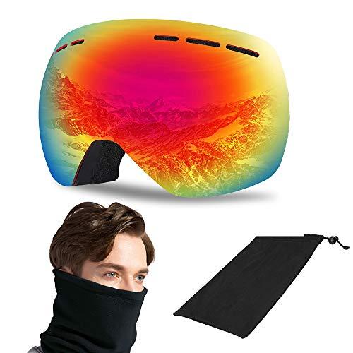 VILLAVIVI Skibrille Rahmenlose Snowboard Brille, UV-Schutz Anti-Nebel Skibrille Dual-Linse Winddichte Schneebrille für Damen und Herren für Skifahren Skaten (Schwarz)